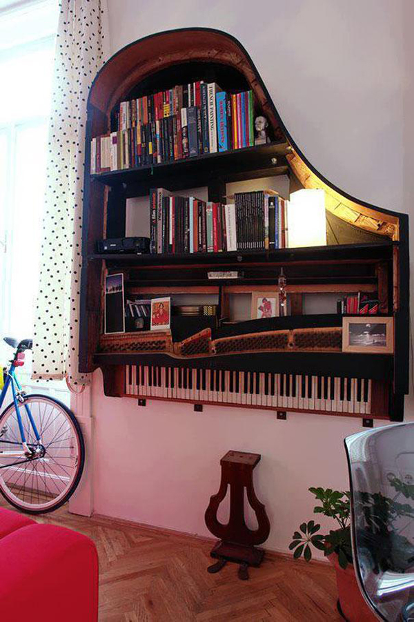 Shelf made from a piano